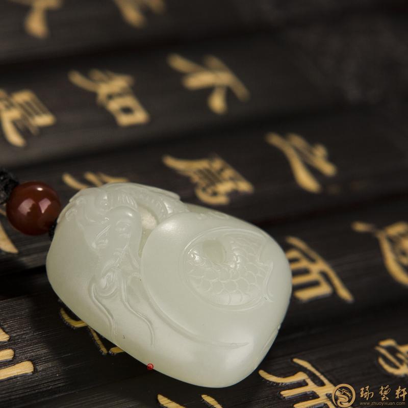 【琢艺轩】新疆和田白玉籽玉挂件 龙吟 15.5克