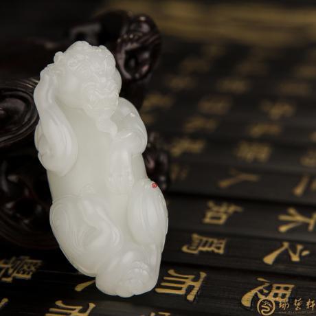 新疆和田一级白籽玉挂件 貔貅 25克