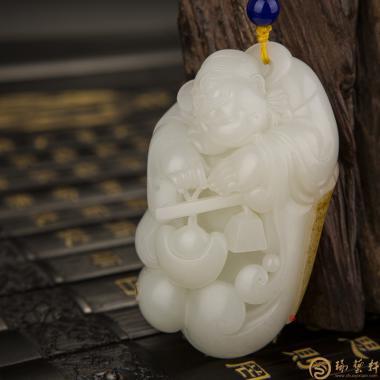 【琢艺轩】新疆和田红皮一级白玉籽玉把件 财神 150克