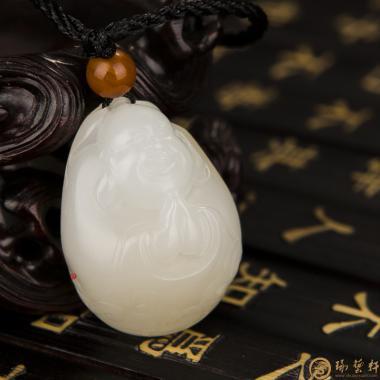 【琢艺轩】新疆和田一级白黄皮籽玉挂件 弥勒佛 15.8克