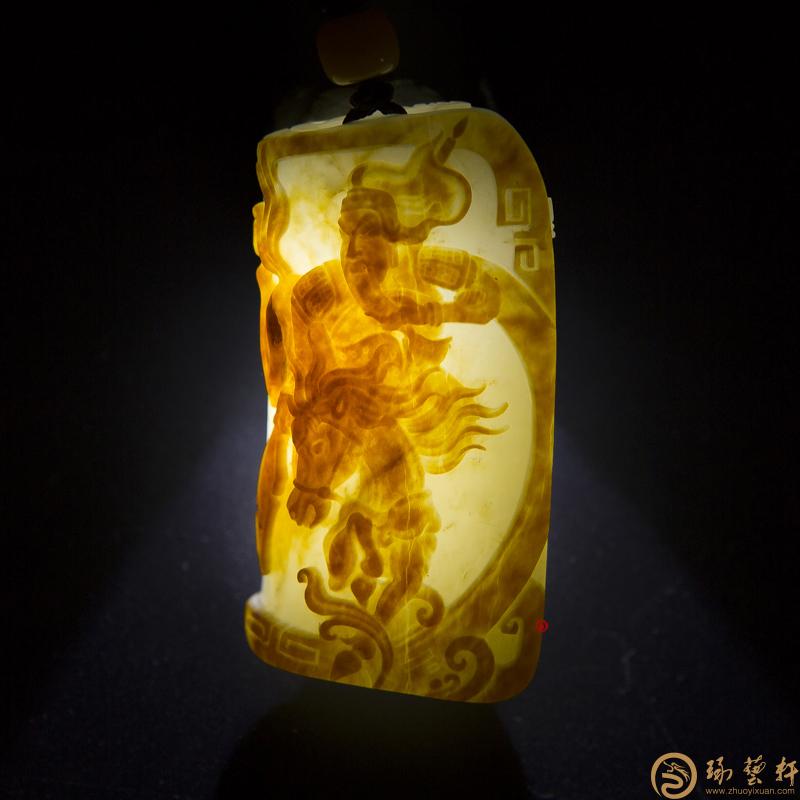 【琢艺轩】新疆和田红皮白玉籽玉挂件 忠义千秋 46.7克