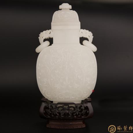 新疆和田羊脂玉籽玉摆件 缠枝双耳瓶 1105克
