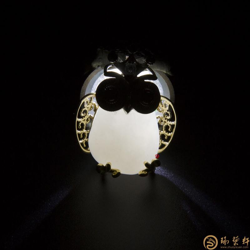 【琢艺轩】新疆和田籽玉18K金镶玉挂件 猫头鹰 15.8克