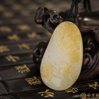 【琢艺轩】新疆和田黄皮白玉籽玉挂件 比翼 14.5克