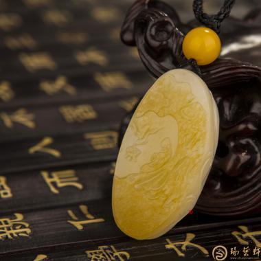 【琢艺轩】新疆黄皮白玉籽玉挂件 悟 15克