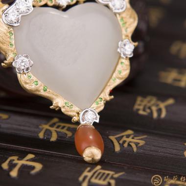 【琢艺轩】新疆和田籽玉金镶玉挂件 天使之恋 17.6克