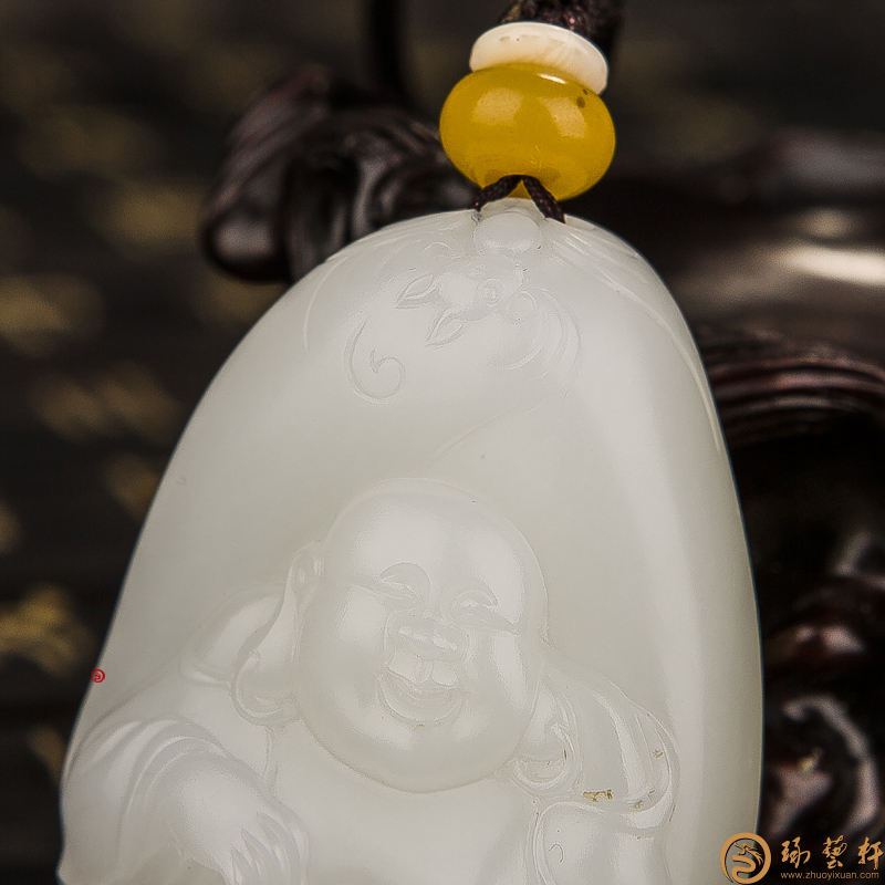 【琢艺轩】穆宇静 新疆和田红皮羊脂白籽玉挂件 弥勒佛 45克