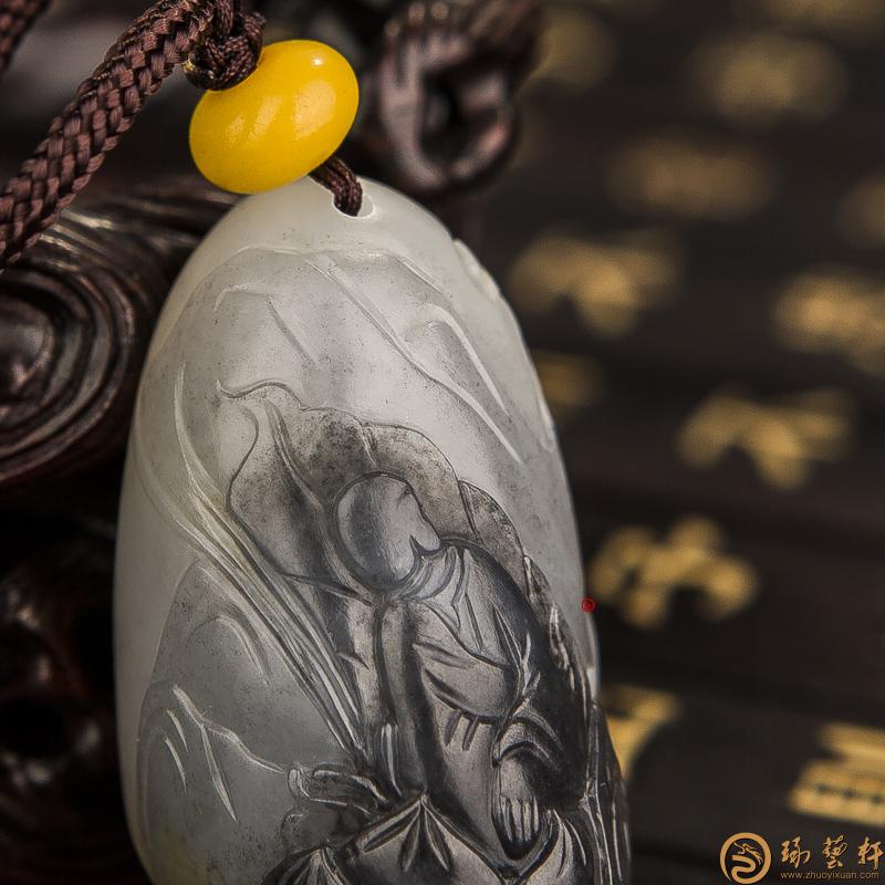 【琢艺轩】新疆和田红皮青花籽玉挂件 悟 34克