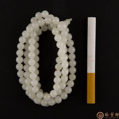 【琢艺轩】新疆和田玉一级白玉籽玉108颗手链 59克