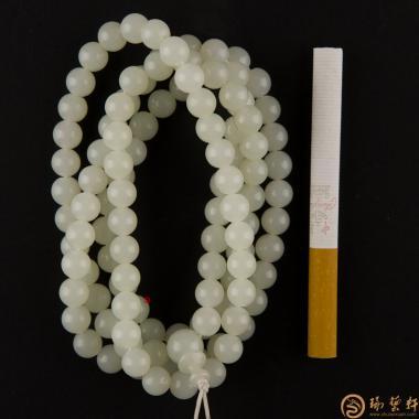 【琢艺轩】新疆和田玉白玉籽玉108颗手链 80.5克