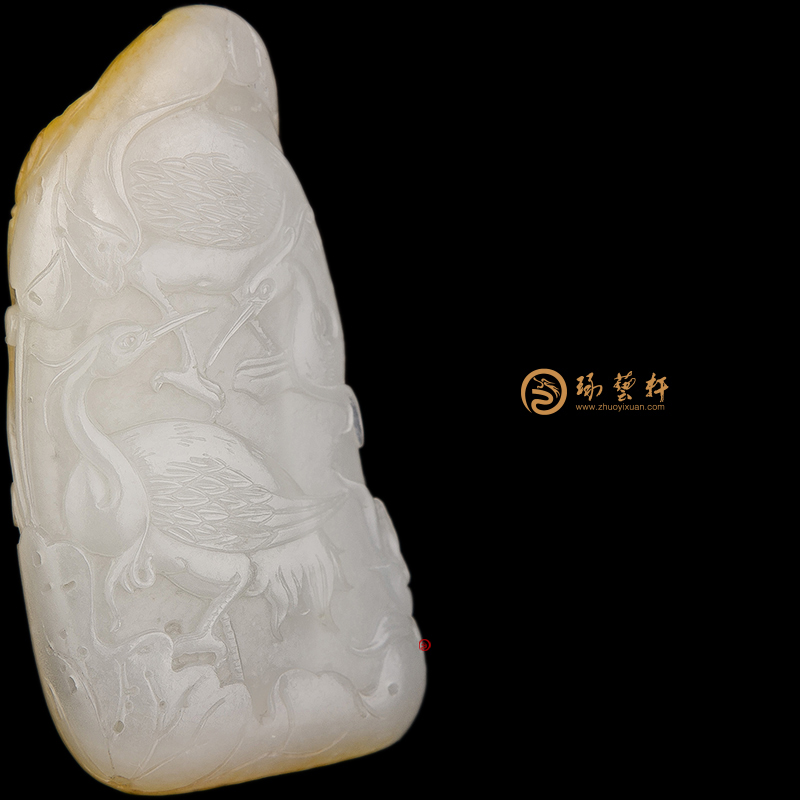 【琢艺轩】新疆和田黄皮一级白玉籽玉把件 路路有福 65克