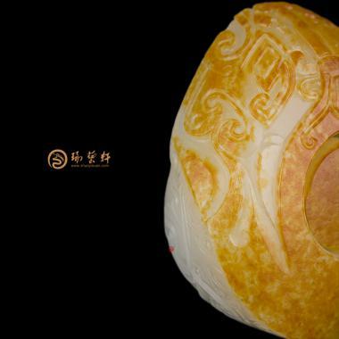 【琢艺轩】穆宇静 新疆和田红皮白玉籽玉扳指 大权在握 133.6克