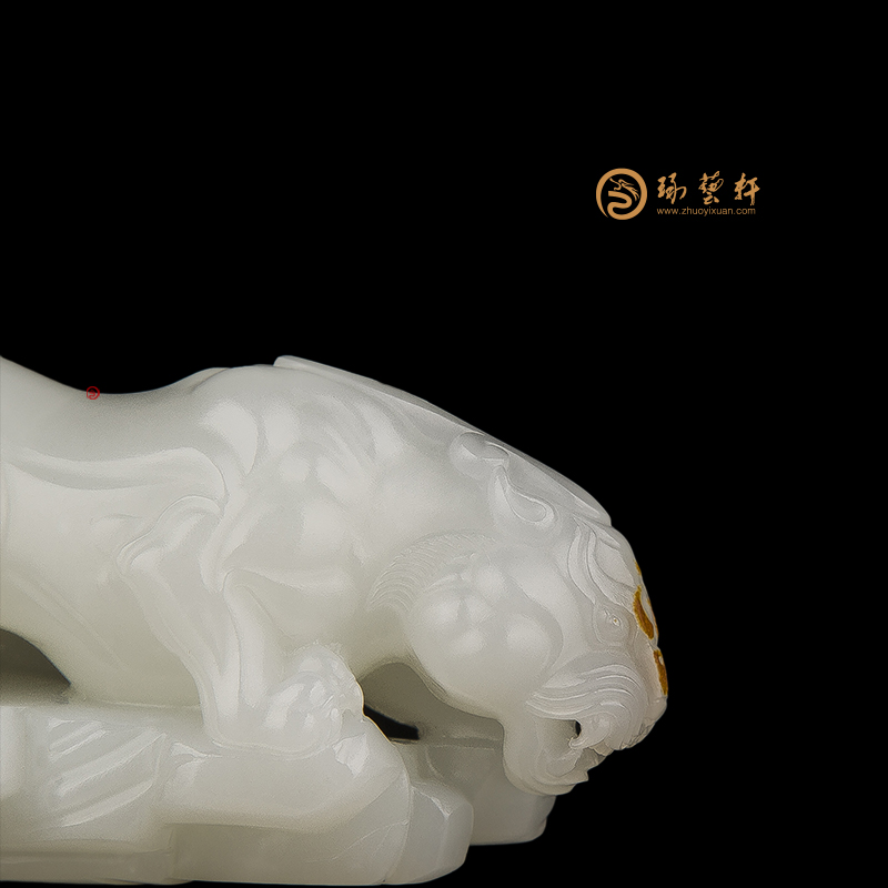 【琢艺轩】穆宇静 新疆和田玉羊脂白玉红皮籽玉把件 貔貅 48克