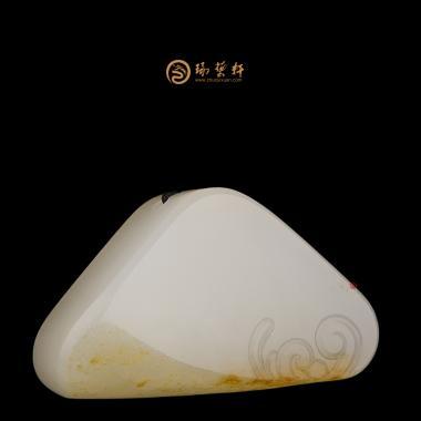 【琢艺轩】新疆和田黄皮白玉籽玉挂件 荷花 13.5克