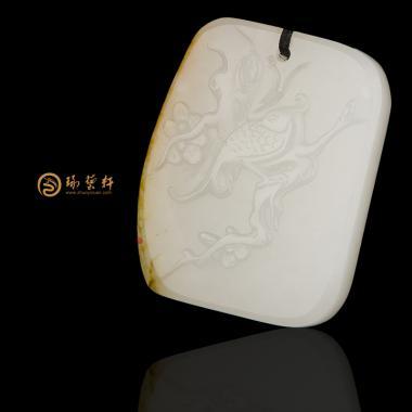 【琢艺轩】新疆和田黄皮白玉籽玉挂件 喜上眉梢 15.5克