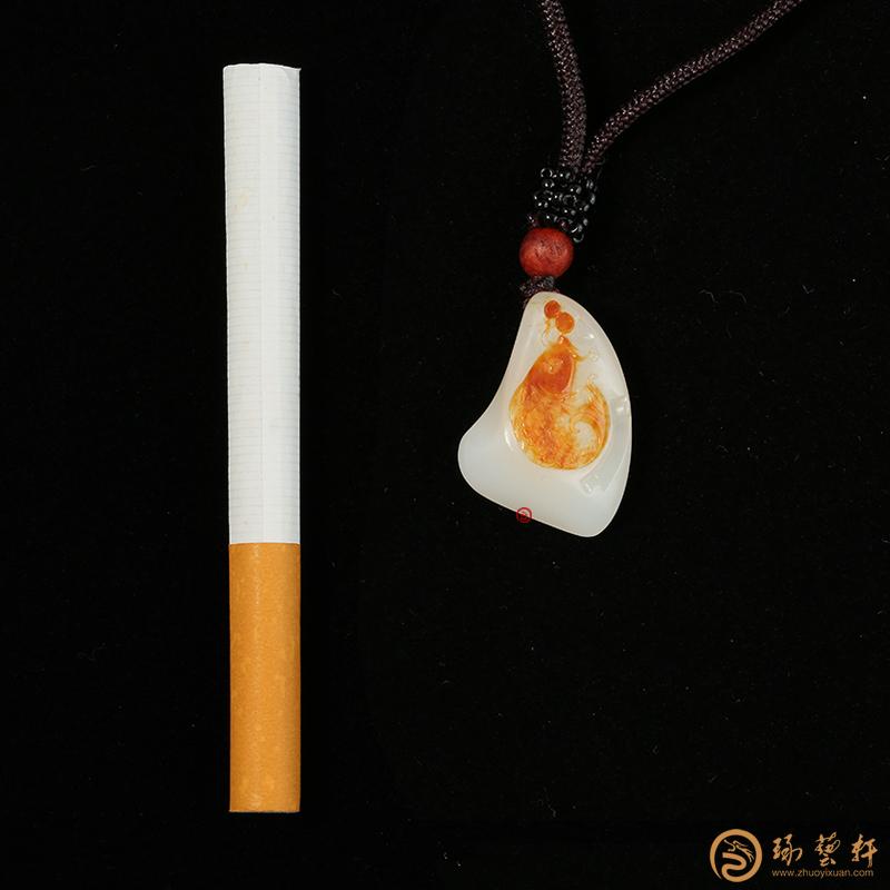 【琢艺轩】新疆和田红皮羊脂白玉籽玉挂件 连年有余 7.1克