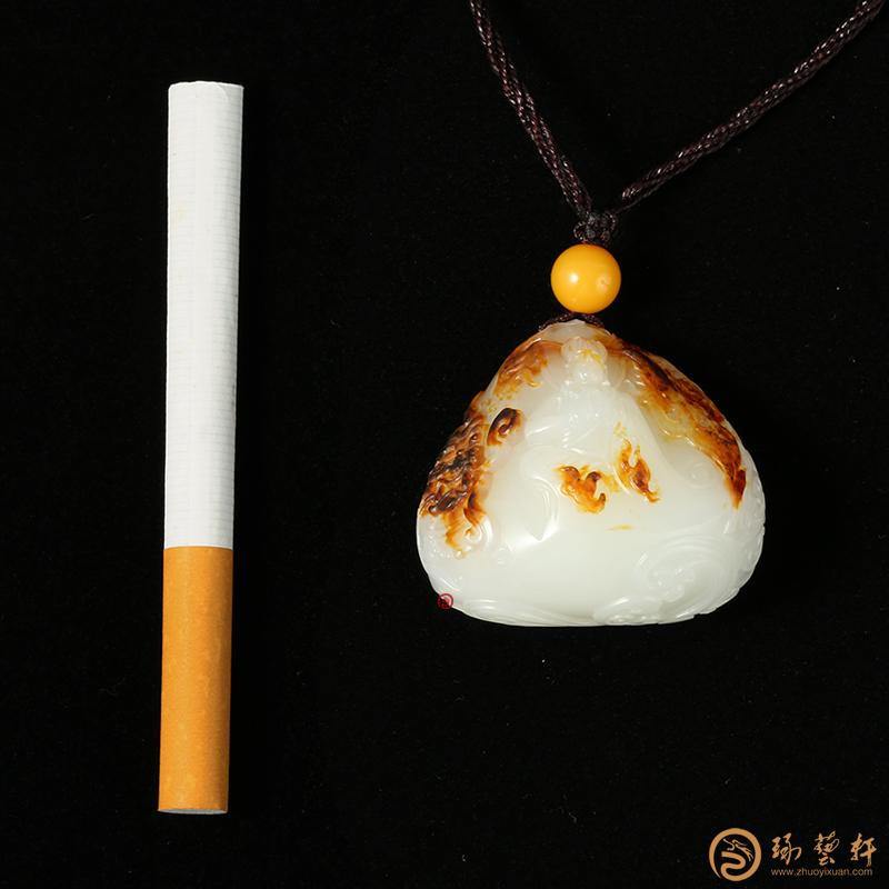 【琢艺轩】穆宇静 新疆和田秋梨皮一级白玉挂件 地藏菩萨 50克