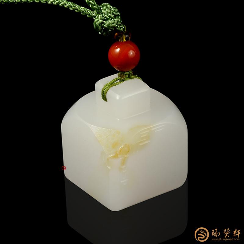 【琢艺轩】新疆和田黄皮白玉籽玉 印章 18.2克