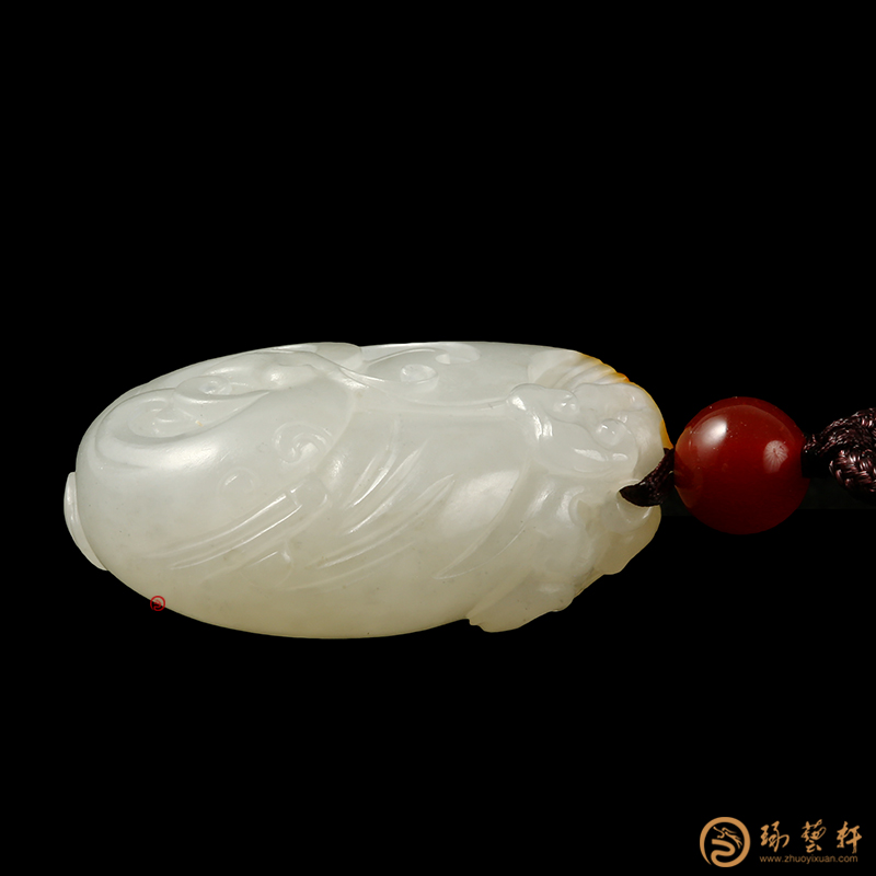 【琢艺轩】新疆和田黄皮白玉籽玉挂件 凤 10.8克