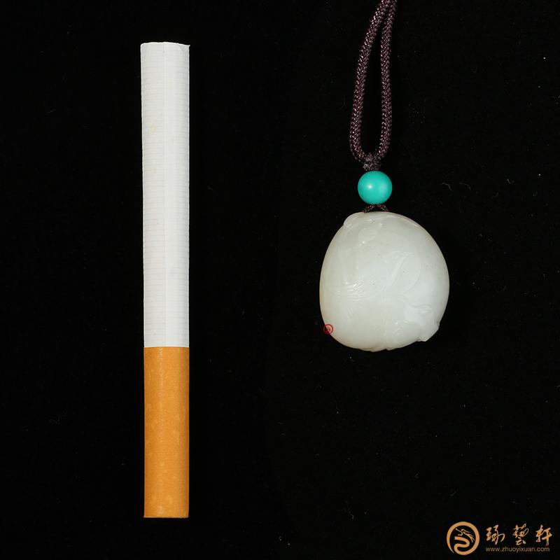 【琢藝軒】新疆和田黃皮白玉籽玉掛件 抬頭見喜 13.8克