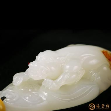 【琢艺轩】新疆和田红皮白玉籽玉挂件 貔貅 29克