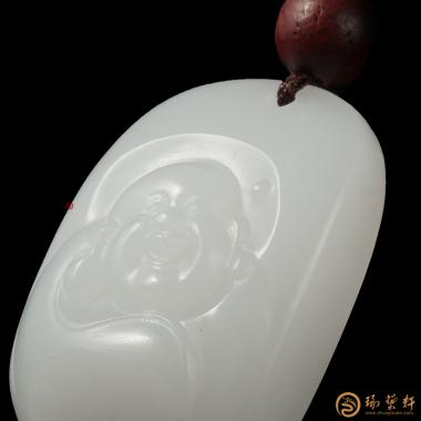 【琢艺轩】新疆和田白皮羊脂白籽玉挂件 弥勒佛 8.6克