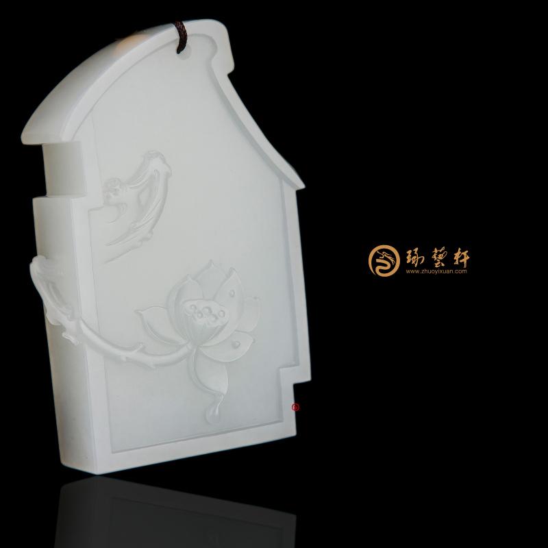 【琢艺轩】新疆和田一级白籽玉牌子 春色满园 63克