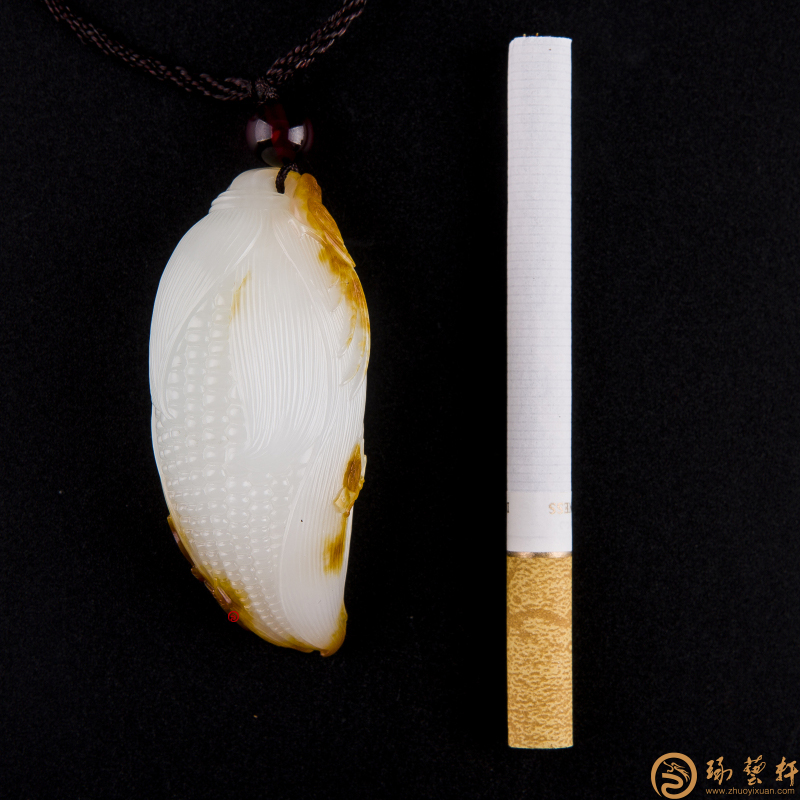 【琢艺轩】新疆和田红沁皮羊脂白挂件 岁岁平安 47.3克