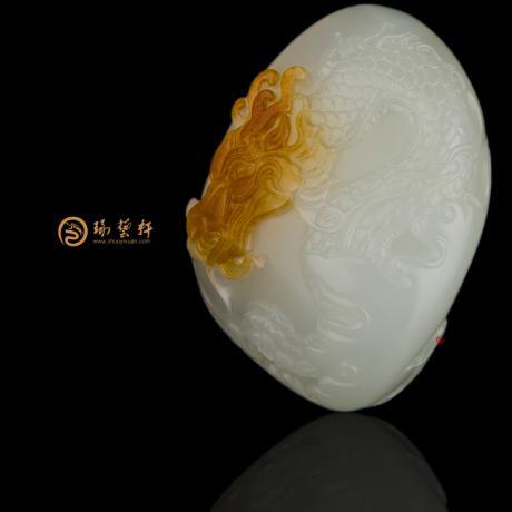 穆宇静 新疆和田黄沁白玉籽玉挂件 龙吟 55克