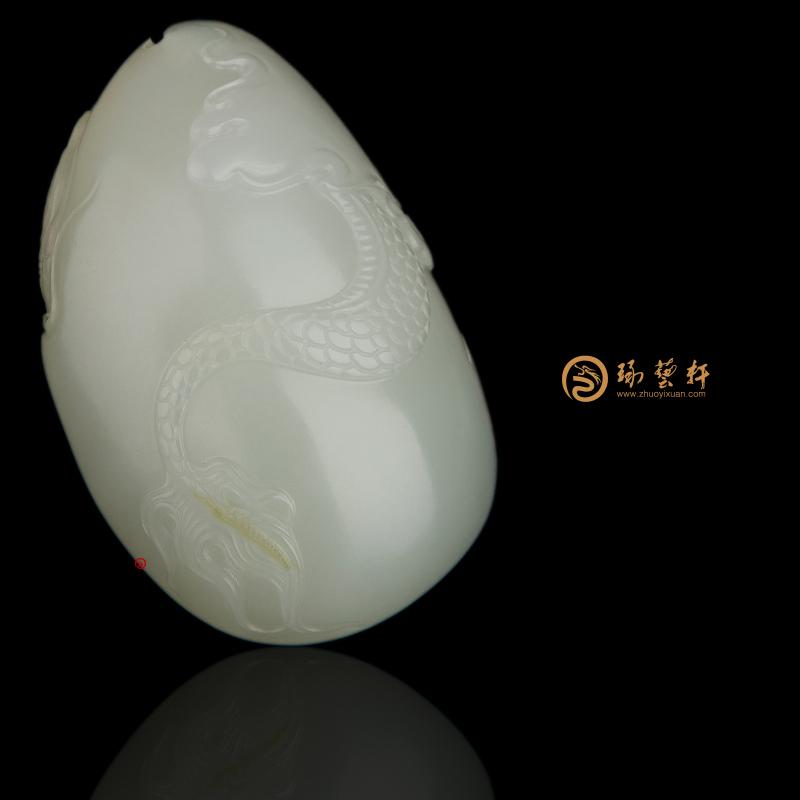 【琢艺轩】穆宇静 新疆和田黄沁白玉籽玉挂件 龙吟 55克