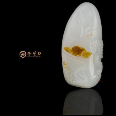 【琢藝軒】新疆和田黃沁皮羊脂白玉籽玉掛件 怡然 28.5克