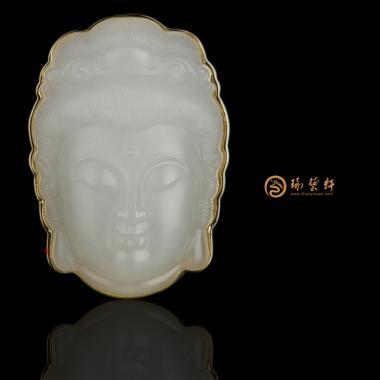 【琢藝軒】新疆和田籽玉18K金鑲玉掛件 觀音 6.3克