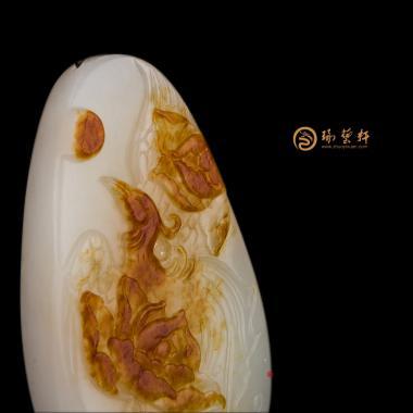 【琢藝軒】新疆和田紅沁一級白籽玉掛件 鳳戲牡丹 38.5克