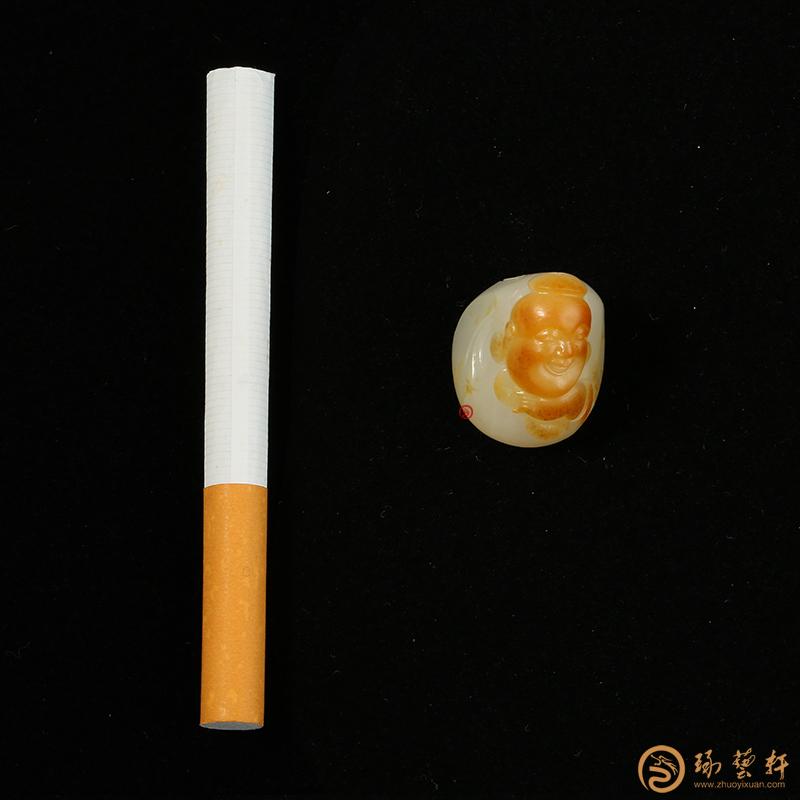 【琢藝軒】新疆和田黃沁白玉籽玉掛件 財福雙至 12.3克