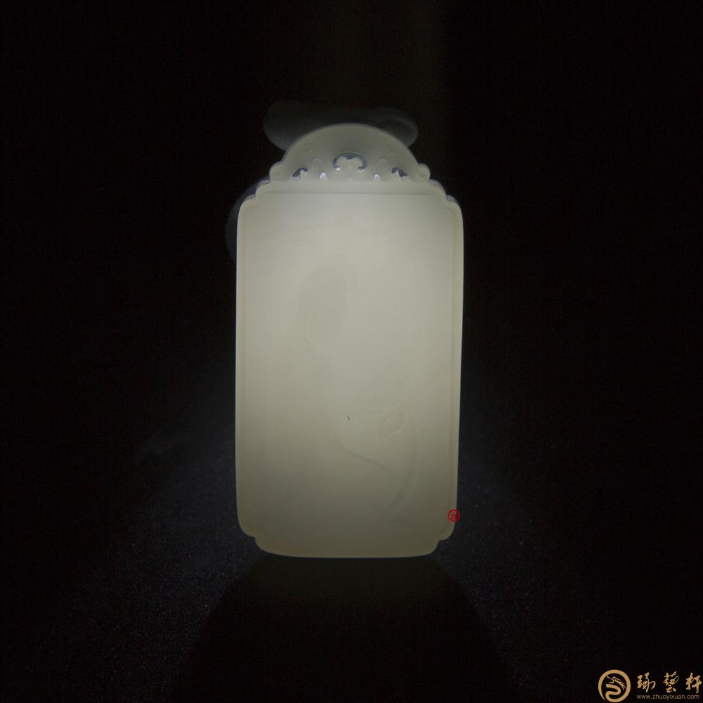【琢艺轩】新疆和田白皮羊脂白籽玉玉牌 观音 17.2克(客户代卖)