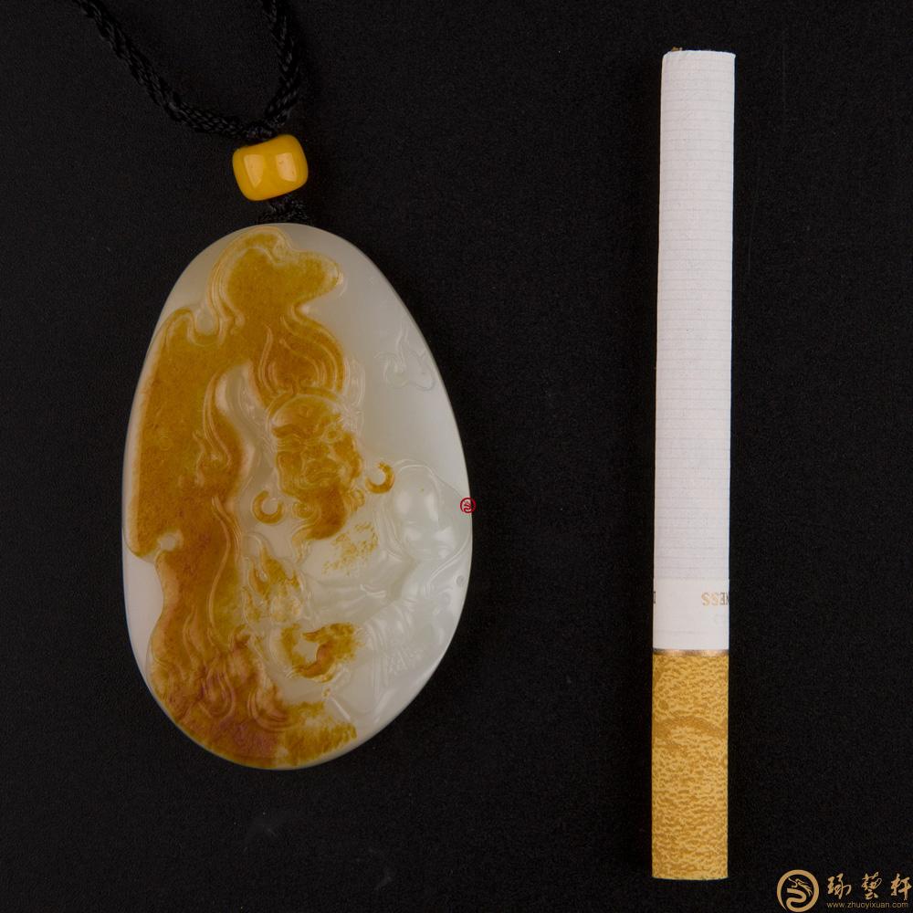 【琢艺轩】新疆和田红皮白玉籽玉挂件 火神 52克