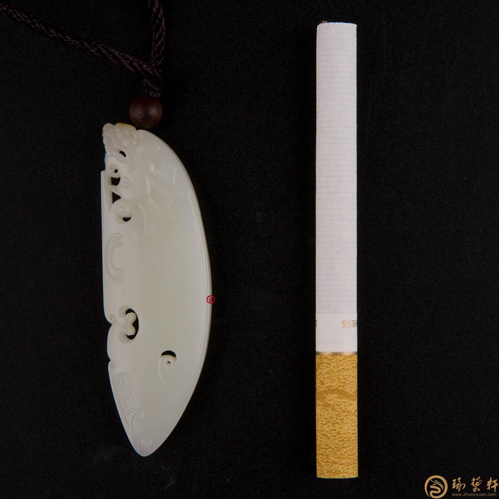 【琢艺轩】新疆和田黄皮白玉籽玉挂件 府上有龙 18.6克