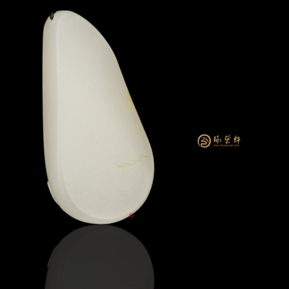 【琢艺轩】新疆和田白皮一级白籽玉挂件 笑口常开 18.4克