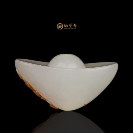 新疆和田红皮羊脂白玉籽玉挂件 财福双至 9.2克