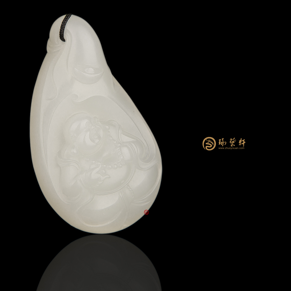 【琢艺轩】新疆和田白皮一级白籽玉挂件 布袋和尚 20克
