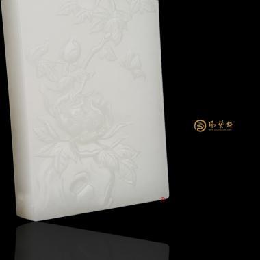 【琢艺轩】穆宇静 新疆和田白皮羊脂白籽玉牌 花开富贵 174克