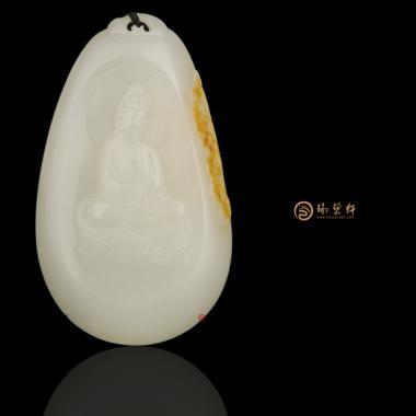 【琢艺轩】新疆和田黄皮白玉籽玉挂件 观音 32克