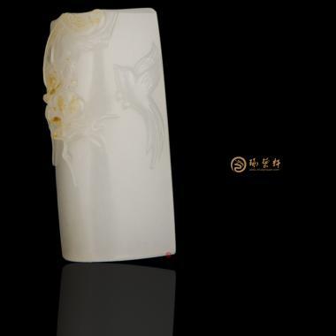 【琢藝軒】新疆和田黃皮羊脂白籽玉掛件 喜上眉梢 31克