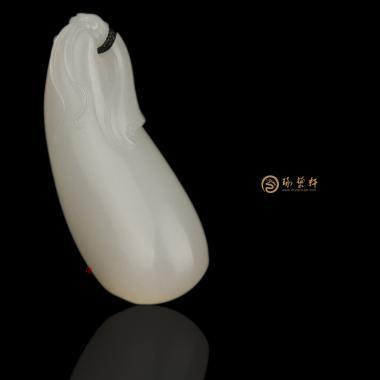 【琢艺轩】新疆和田黄皮羊脂白挂件 福瓜 9.7克