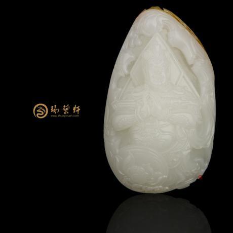 穆宇靜 新疆和田紅皮羊脂白玉把件 韋陀菩薩 109.5克