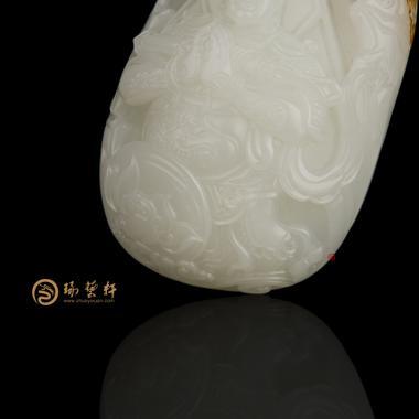 【琢艺轩】穆宇静 新疆和田红皮羊脂白玉把件 韦陀菩萨 109.5克