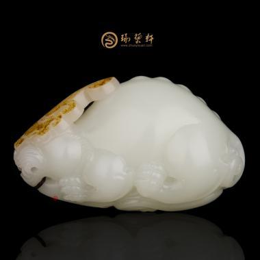 【琢藝軒】新疆和田紅皮羊脂白籽玉把件 鴻運當頭 87.8克