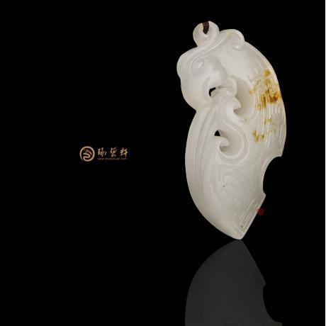 新疆和田黄皮羊脂白籽玉挂件 凤 3克