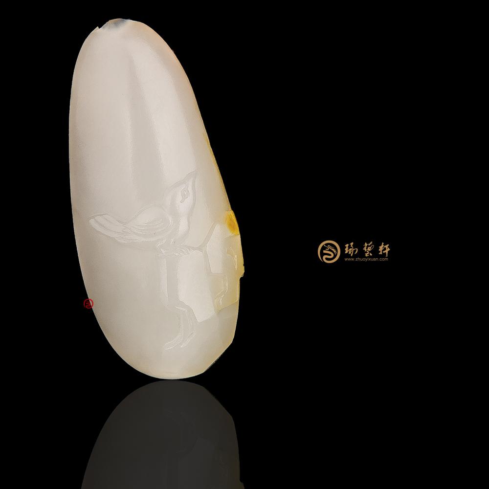 【琢藝軒】新疆和田紅皮一級白籽玉掛件 喜上眉梢 6.7克