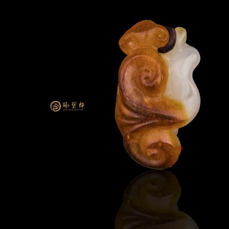 新疆和田红沁一级白籽玉挂件 如意 4.7克